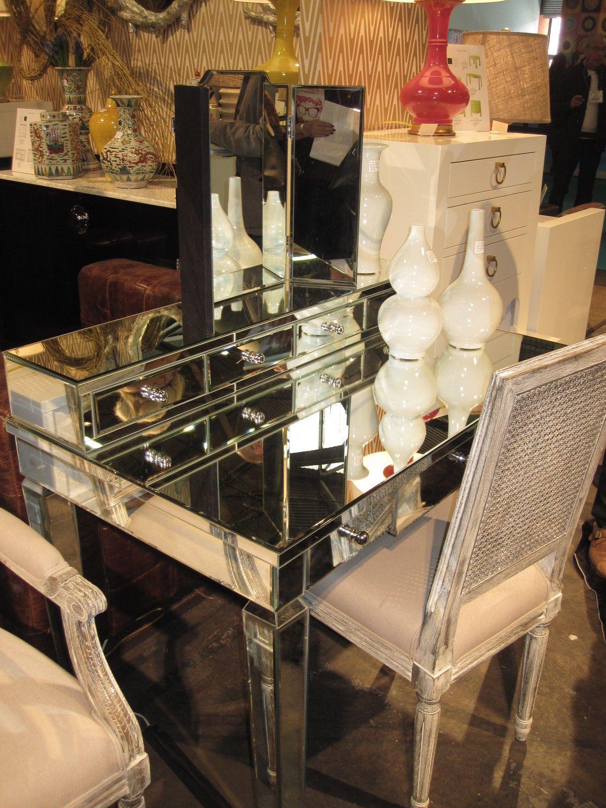 44 w 7 drawer beveled mirrored desk vanity w mirror hollywood 44 w 7 drawer beveled mirrored desk vanity w mirror hollywood regency glam geotapseo Gallery