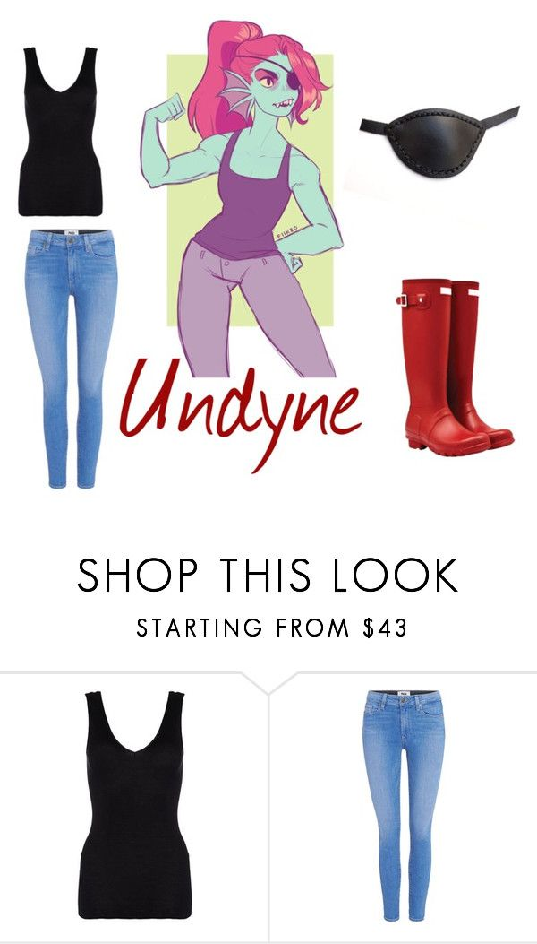 """""""undertale undyne"""" by redess ❤ liked on Polyvore featuring Masquerade, Hanro, Paige Denim and Hunter"""