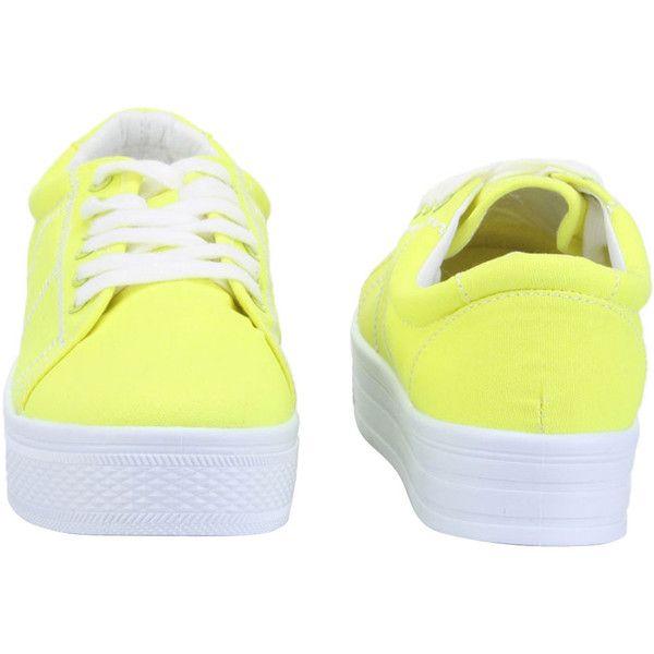 Platform Sneakers in Neon Yellow