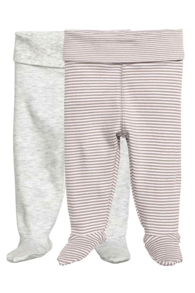 Set Van 2 Broeken Met Voetjes Beige Gestreept Kinderen H M Be Footed Leggings Online Shopping Clothes Newborn Outfits
