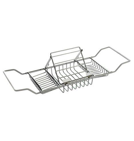 Bathtub Caddy with Book Rack | Bathtub caddy, Chrome plating and ...