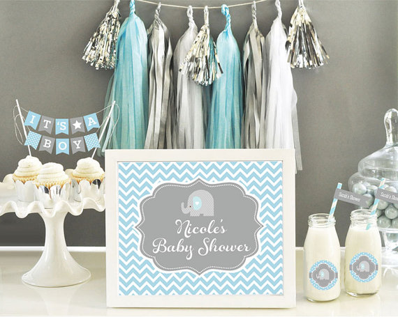 Baby Shower Ideas Elephant elephant baby shower centerpiece sign - blue elephant baby shower