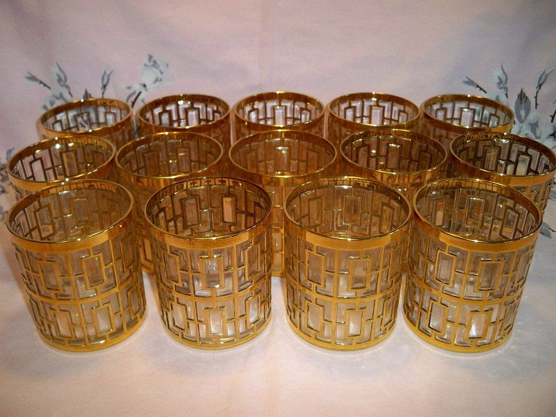 Exceptional Vintage Shoji Gold Old Fashioned Rock Glasses Imperial Glass Barware