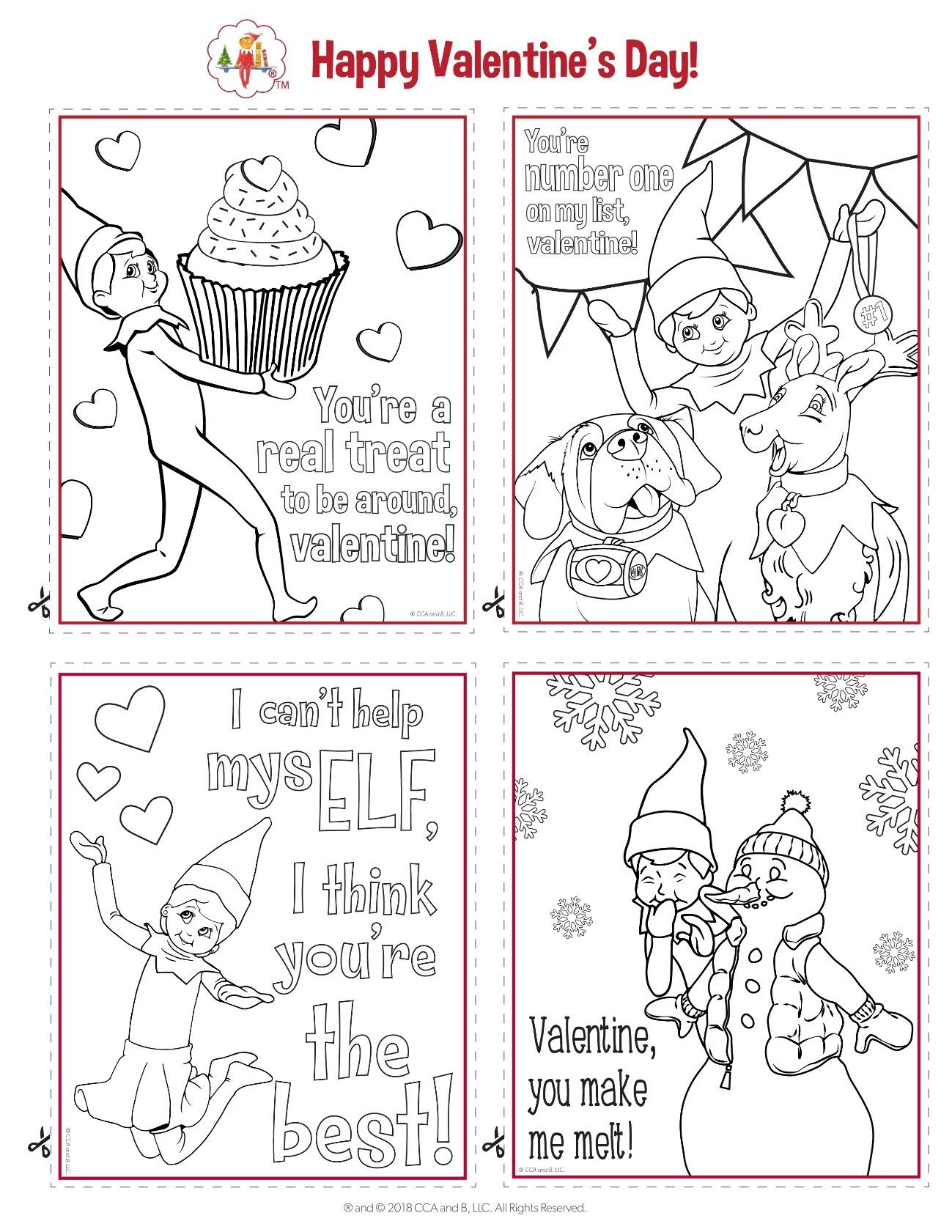 The Elf On The Shelf A Christmas Tradition Printable Valentines Day Cards Valentine Coloring Pages Valentine Coloring