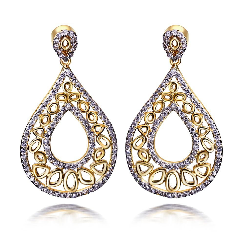 Cheap Women Earrings Buy Quality Designer Directly From China Suppliers 2 Tone Plate With Bright Cubic Zirconia Stones