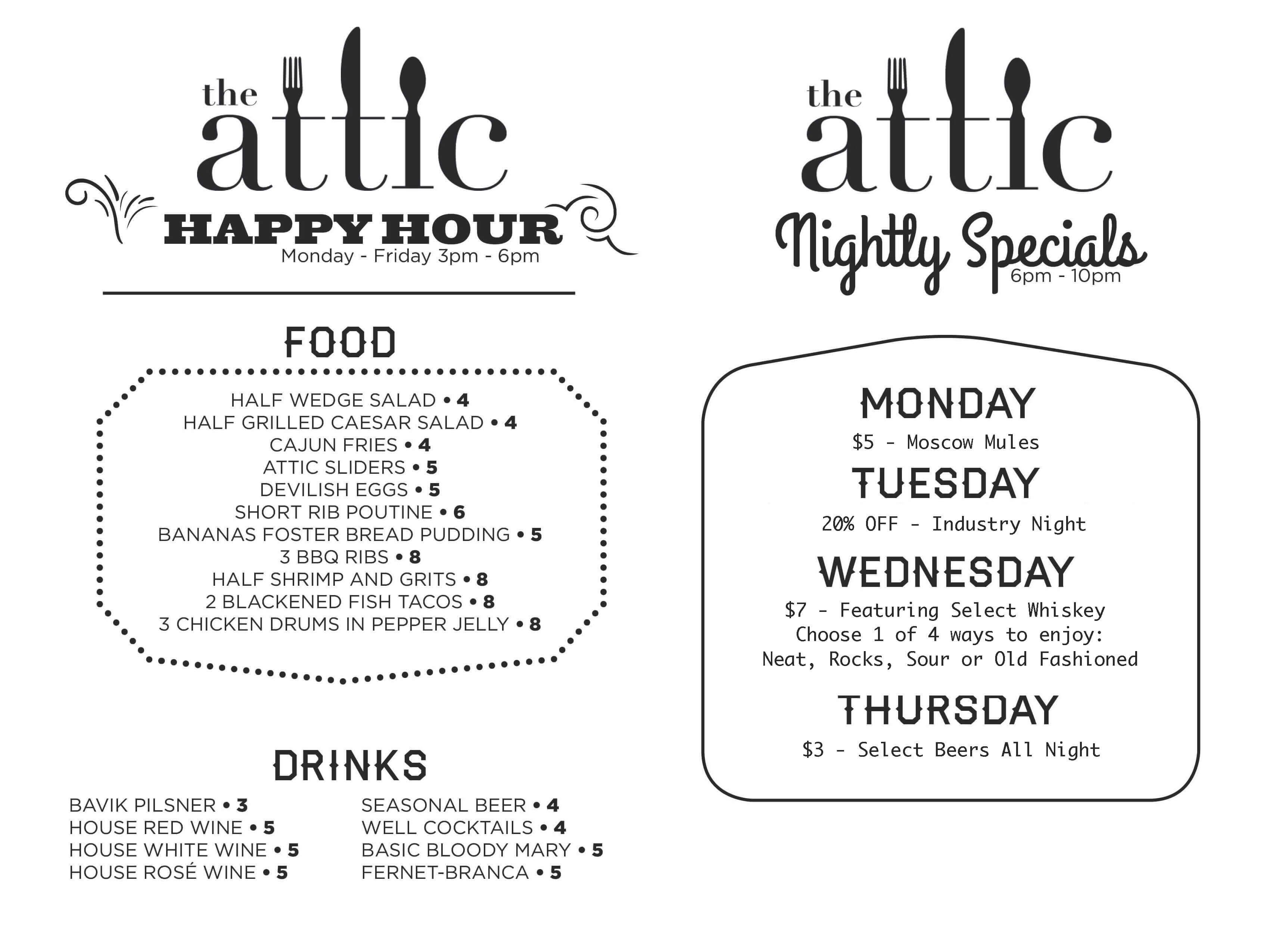 The Attic Happy Hour Menu Happy Hour Menu Cajun Fries Menu