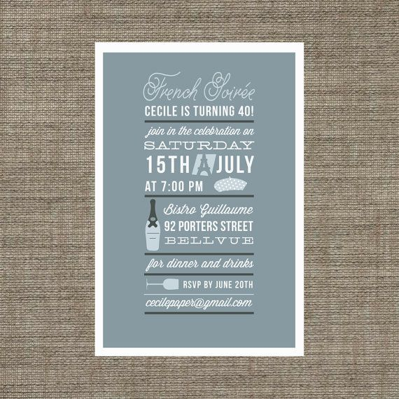 printable french soiree invitation for dinner party or birthday