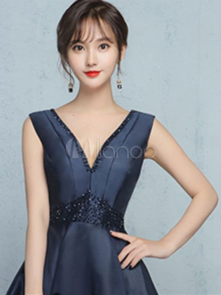High Low Prom Dress Backless Cocktail Dress Dark Navy Satin V Neck Beading A Line Graduation Dress #Backless, #Cocktail, #Dark #backlesscocktaildress