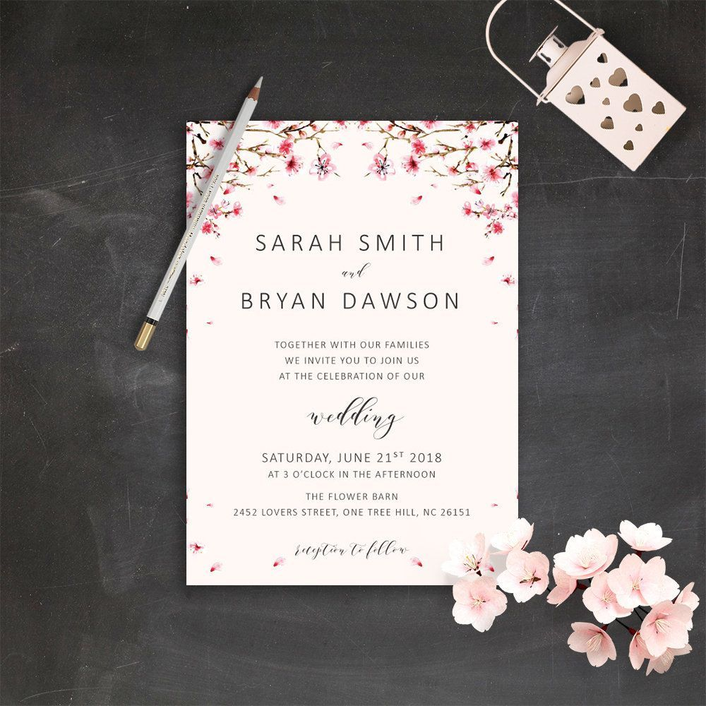 Cherry Blossom Wedding Invitation Suite