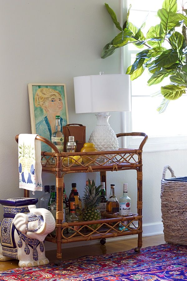 How To Style A Bar Cart In The Living Room Accuotrements Yahs Magnificent Sewing Machine Bar Cart