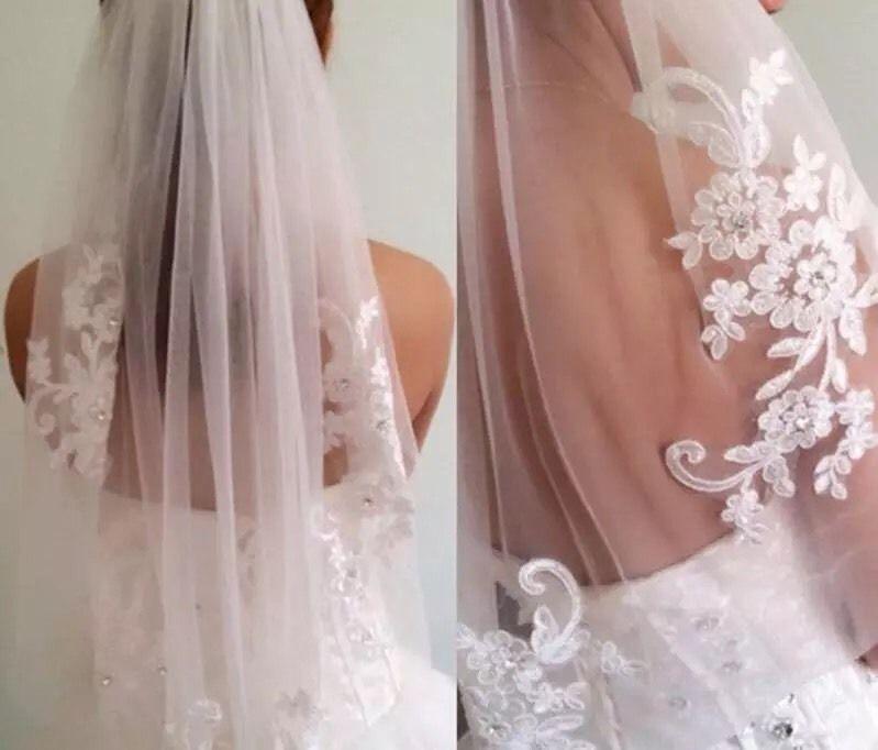 Short One Layer Waist Length Beaded Diamond White Wedding Veil Bridal Ebay