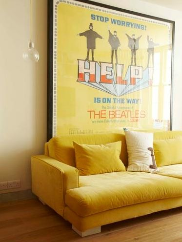 I Donu0027t Know How I Feel About A Velvet Sofa, But I Like That Colour, And  That Giant Poster.