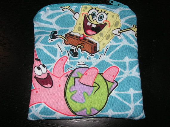 Spongebob sponge bob handmade zipper by alwaysamazingdesigns, $3.99