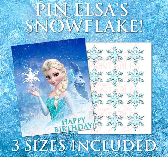 Pin the Snowflake Birthday Game Printable Frozen Birthday Party Frozen Decorations Elsa Dres