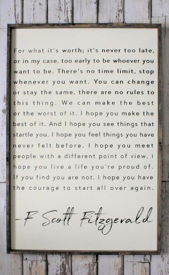 F Scott Fitzgerald Quote Wood Sign Inspiring Quotes Rustic Decor Fixer Upper Modern Farmhouse Wall Art Housewarming Gift Id