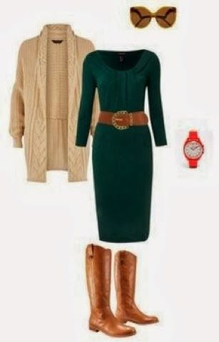 Adorable Green Dress and Darker Sweater, Long Leather Boots and Belt with Accessories