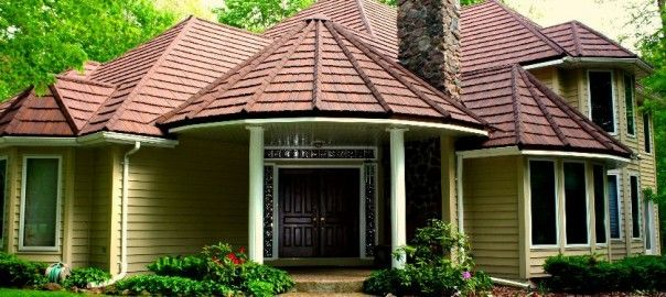 Stone Coated Steel Roofs What S All The Fuss Roofingcalc Com Estimate Your Roofing Costs House Roof House Roof Design Roof Architecture