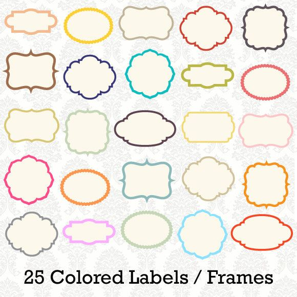 25 digital colored label frames borders for scrapbooking cards commercial use 25 pieces png