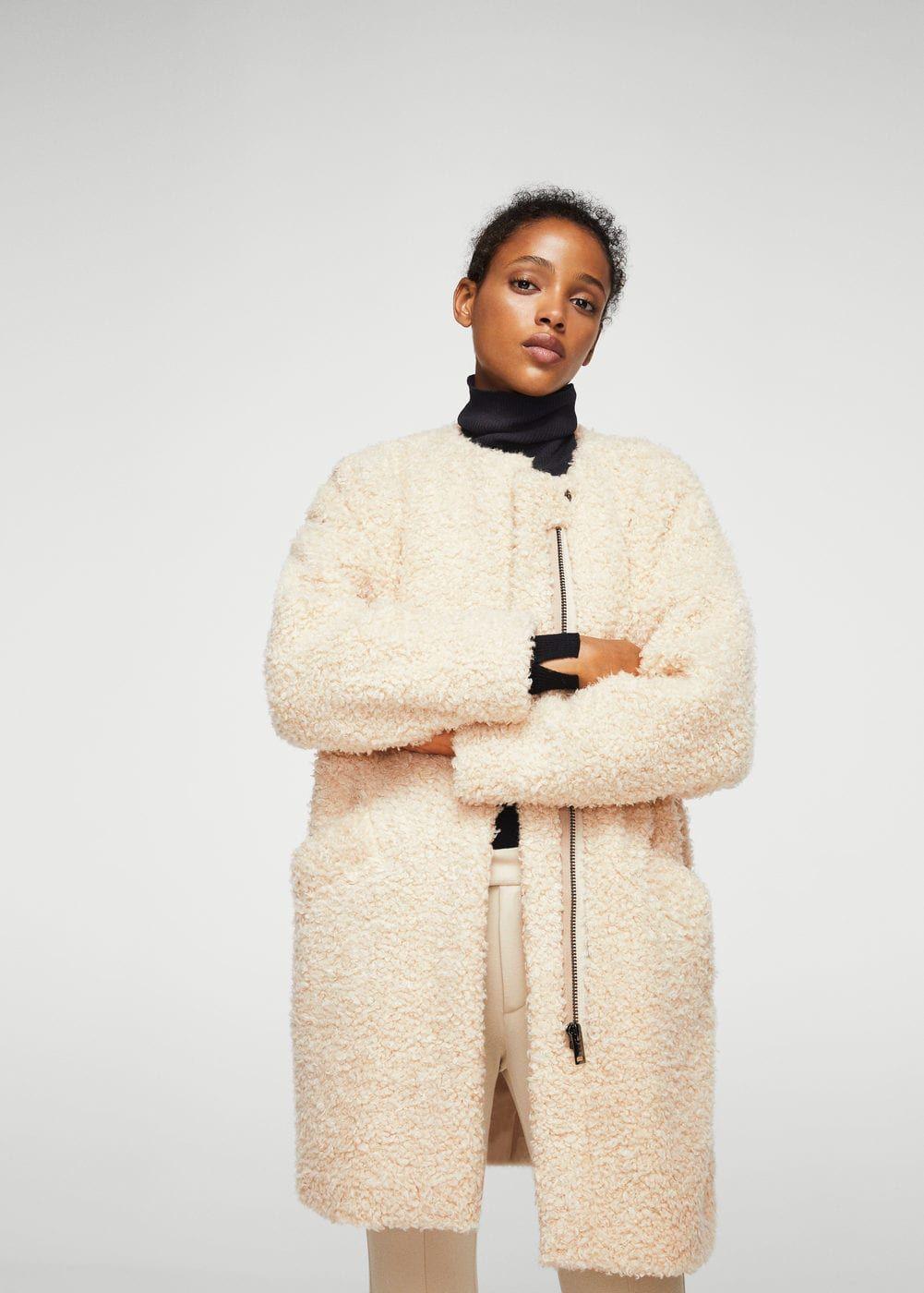 magasin en ligne faa47 47ef6 Manteau imitation mouton - Femme | Mango nouveaute pour l ...
