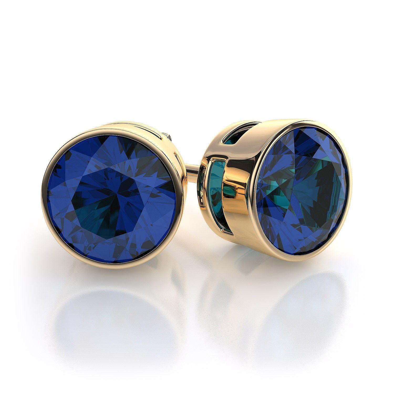 14Kt Gold White Sapphire Oval Bezel Stud Earrings