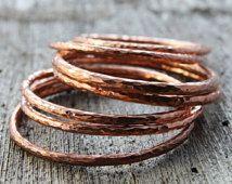 Hammered Copper Bangle Hand Forged Metalwork Bracelet One Large Elegant