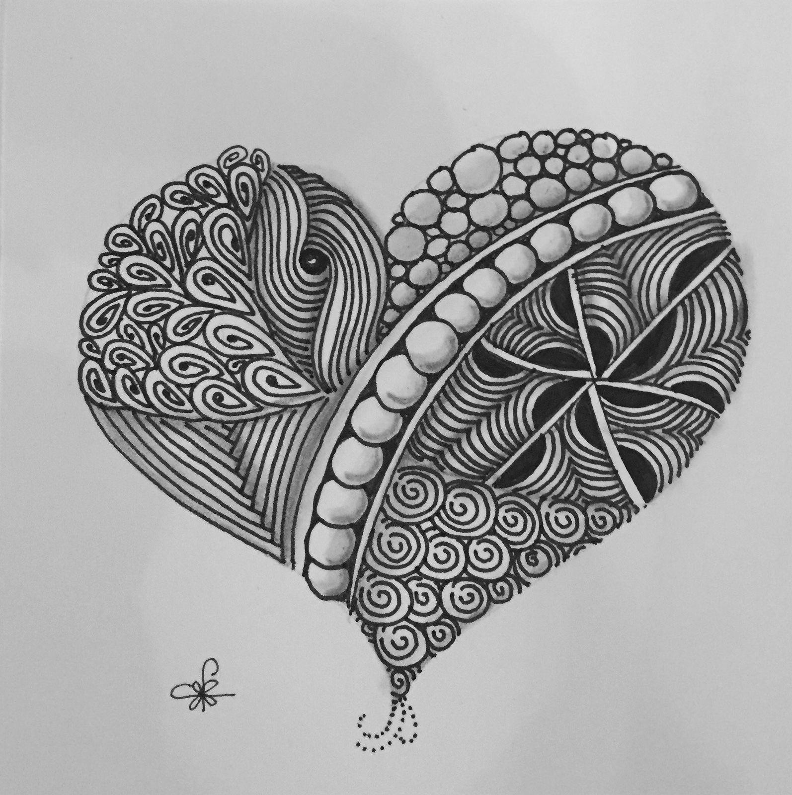 Zentangle Heart by ArtSchmidt on Etsy |Zentangle Heart Graphics