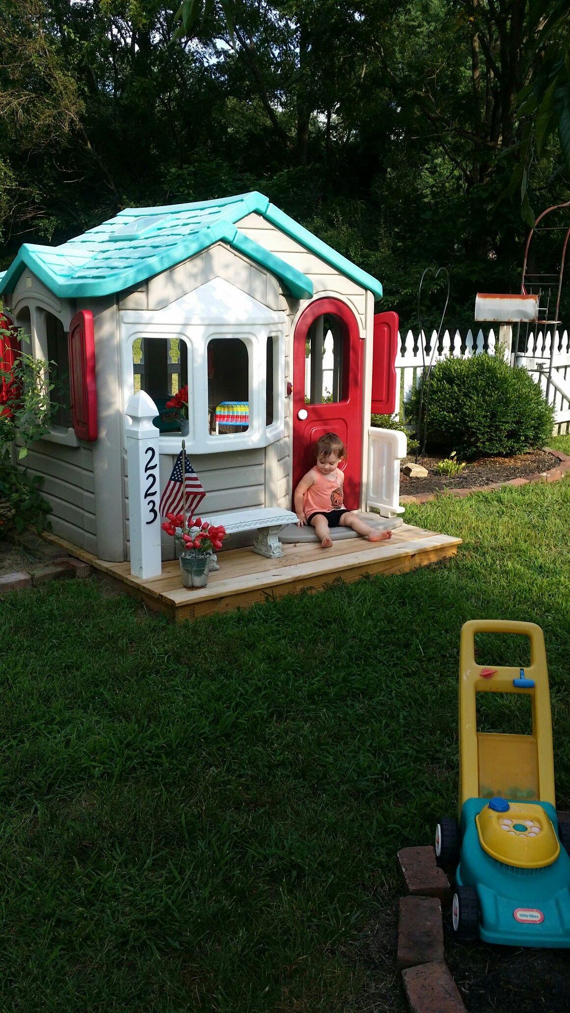Our Step 2 Playhouse Redo For Adalynne Backyard For Kids Play Houses Backyard Fun