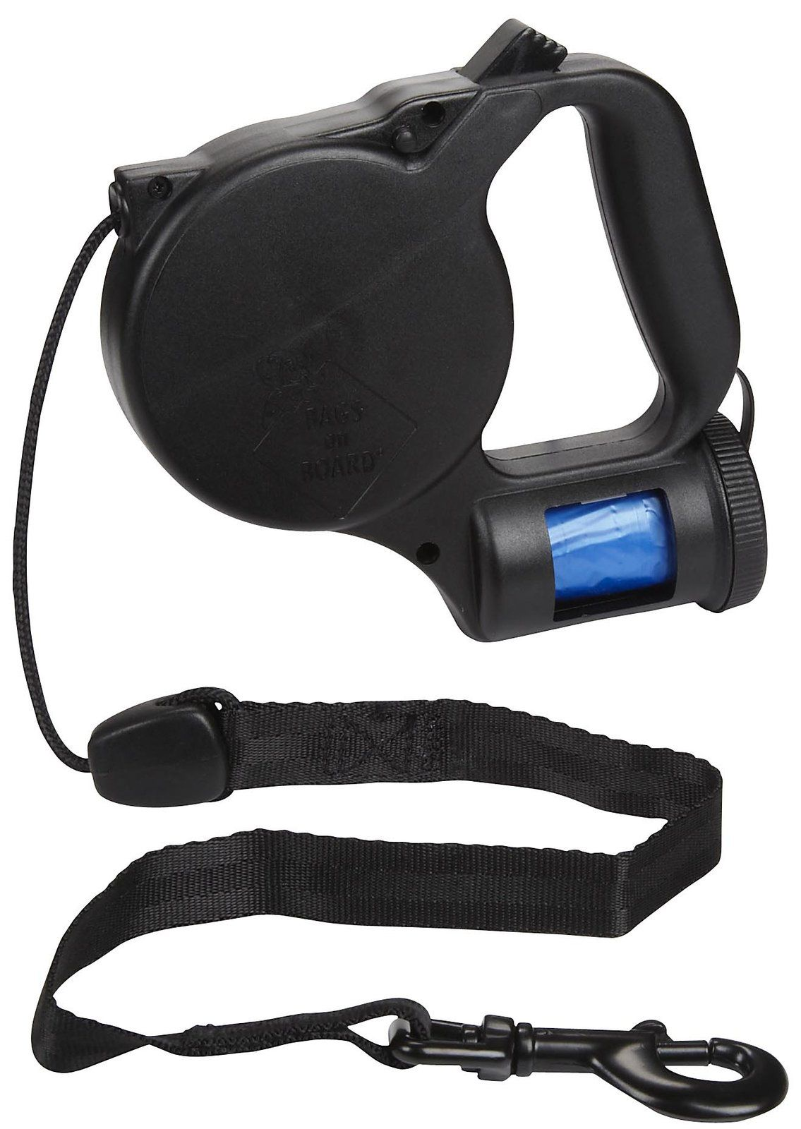 A Retractable Leash With Built In Bag Dispenser Dog
