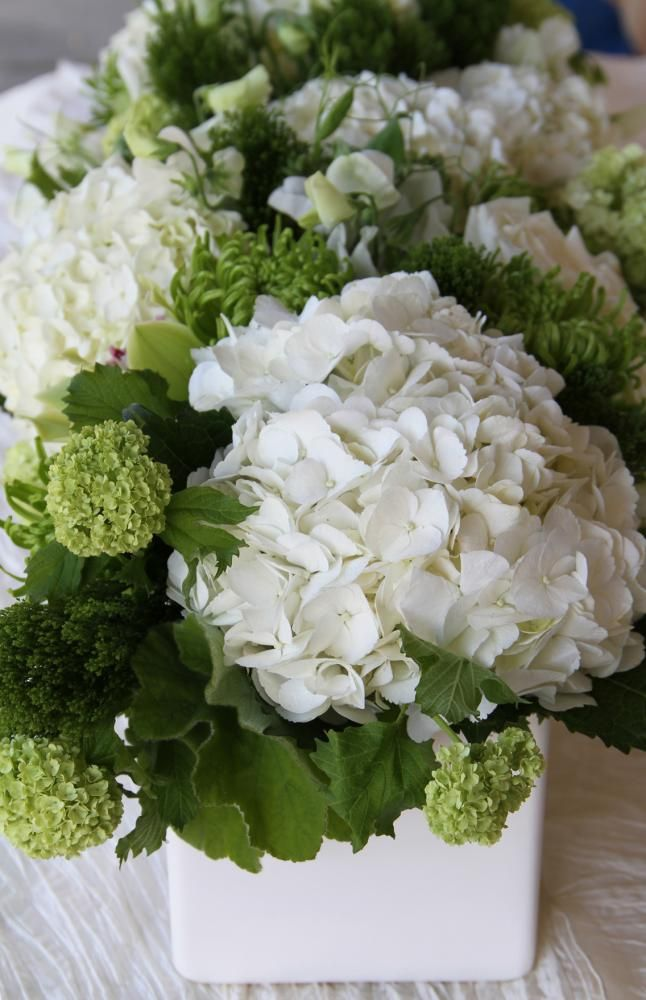 Simply green and white reception wedding flowers, wedding decor ...