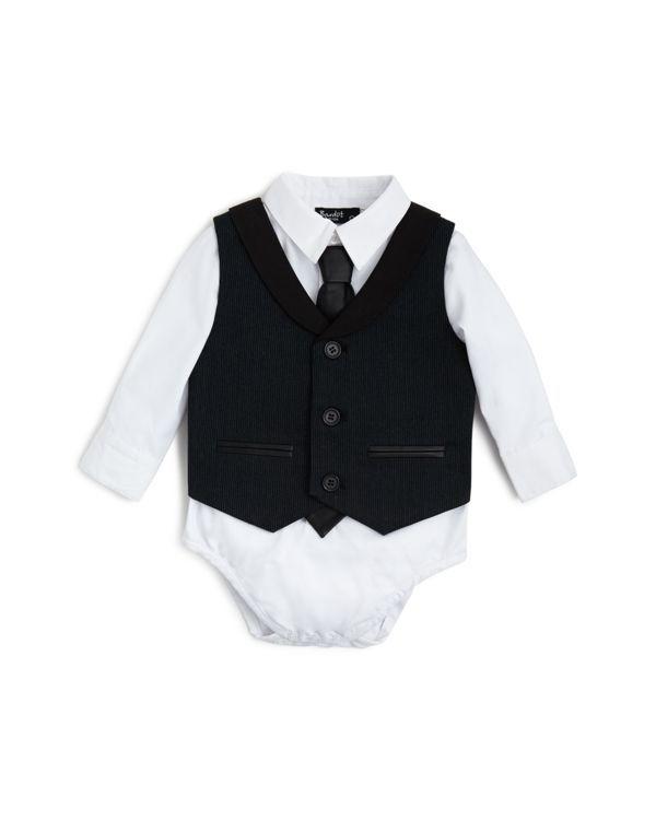 Bardot Infant Boys' Bodysuit, Tie & Pinstripe Vest Set - Sizes 12-24 Months