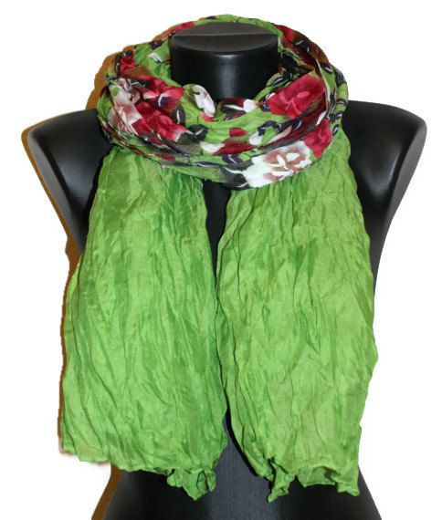 Floral Scarf  Green Scarf with Flowers  Unique by CRAZYSPIRIT, $15.00
