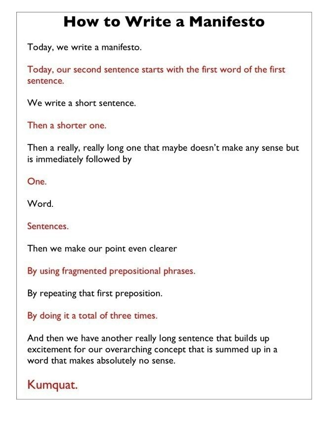 How To Write A Manifesto Truly Funny Writers Write Words Writing A Book Writing Advice