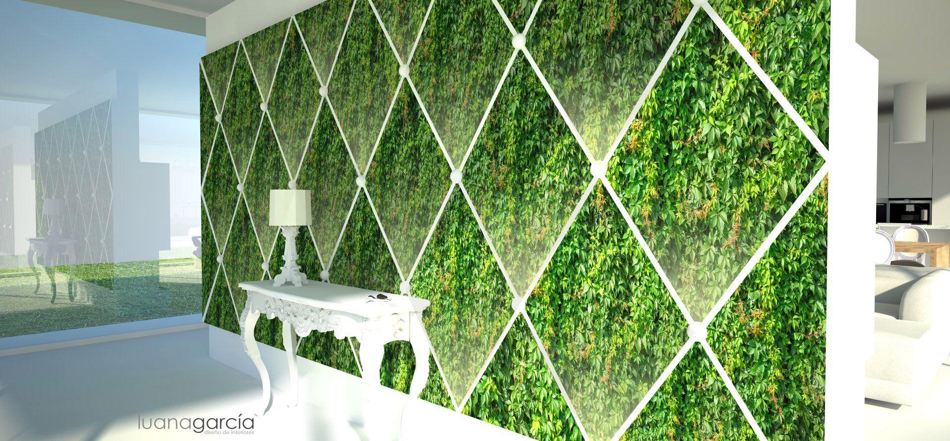 Prototipo de jardín vertical modular a base de placas romboidales iluminadas creando el efecto capitoné.  Diseño: Luana García 2013 ©Todos los derechos reservados  www.luanagarcia.es