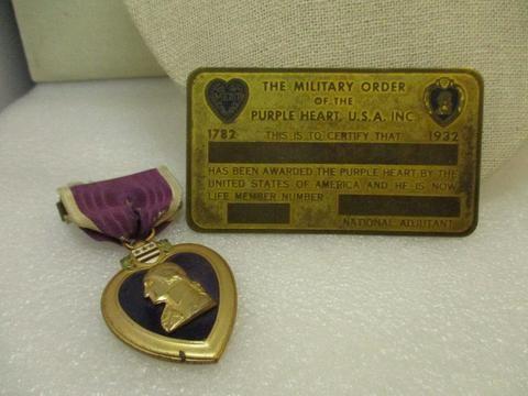 1932 Military Merit Purple Heart Metal and Metal Certification Card, Life Member No. 121, name on back