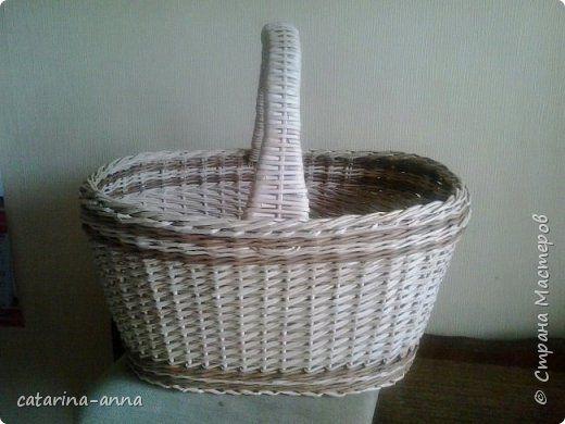 Еще раз Здравствуйте.  Мой второй блог с плетенками. Грибная корзина. В стойках и ручке проволока. фото 1