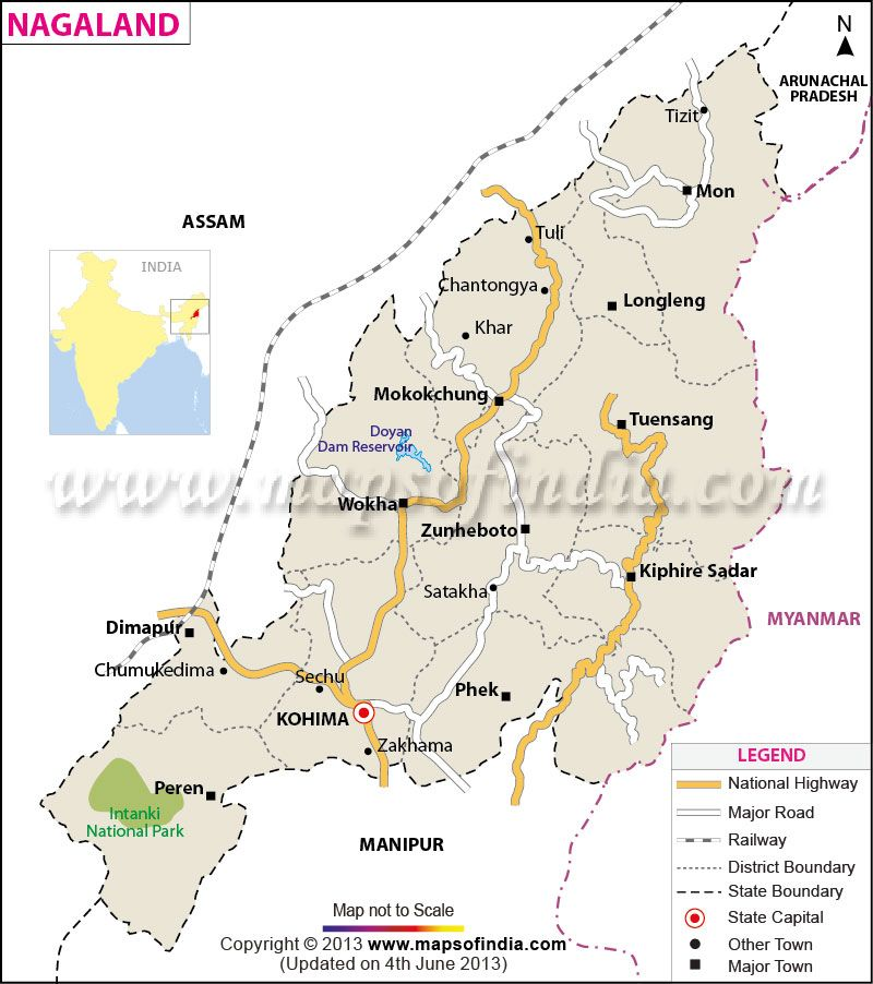 Map of Nagaland | State Maps in 2019 | India map, Union