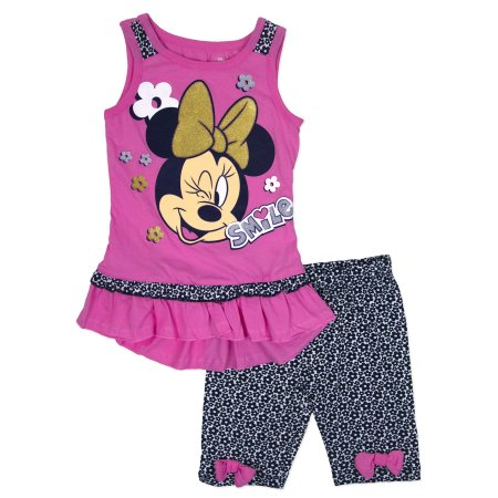 Disney Minnie Mouse 2 Piece Baby//Toddler Little Girls Top /& Bike Shorts Set