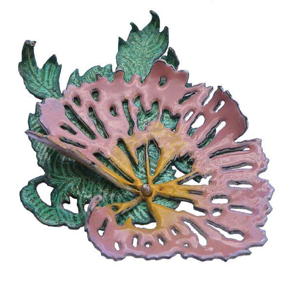 'Carnation' brooch in hand pierced enamelled copper by Emily Knight