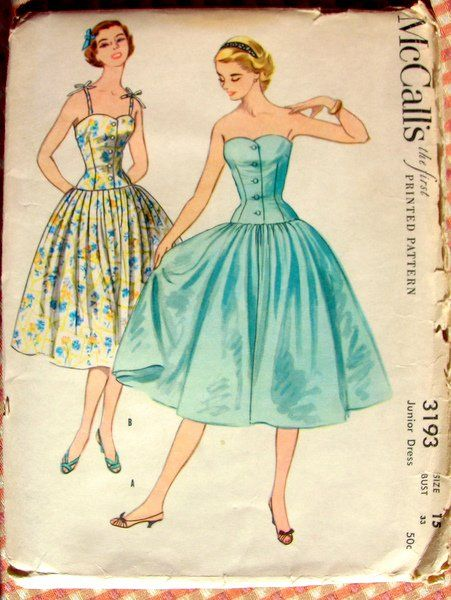 Corset Style Bodice Sun Dress Vintage 50s Sewing Pattern McCall\'s ...
