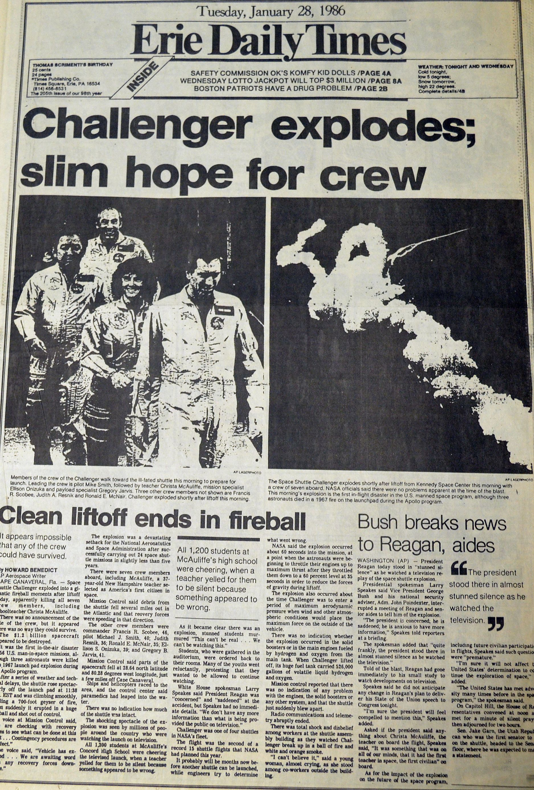 The Erie Daily Times Covers The Tragic Challenger Explosion Dated January 28 1986 Historical News Historical Newspaper Newspaper Headlines