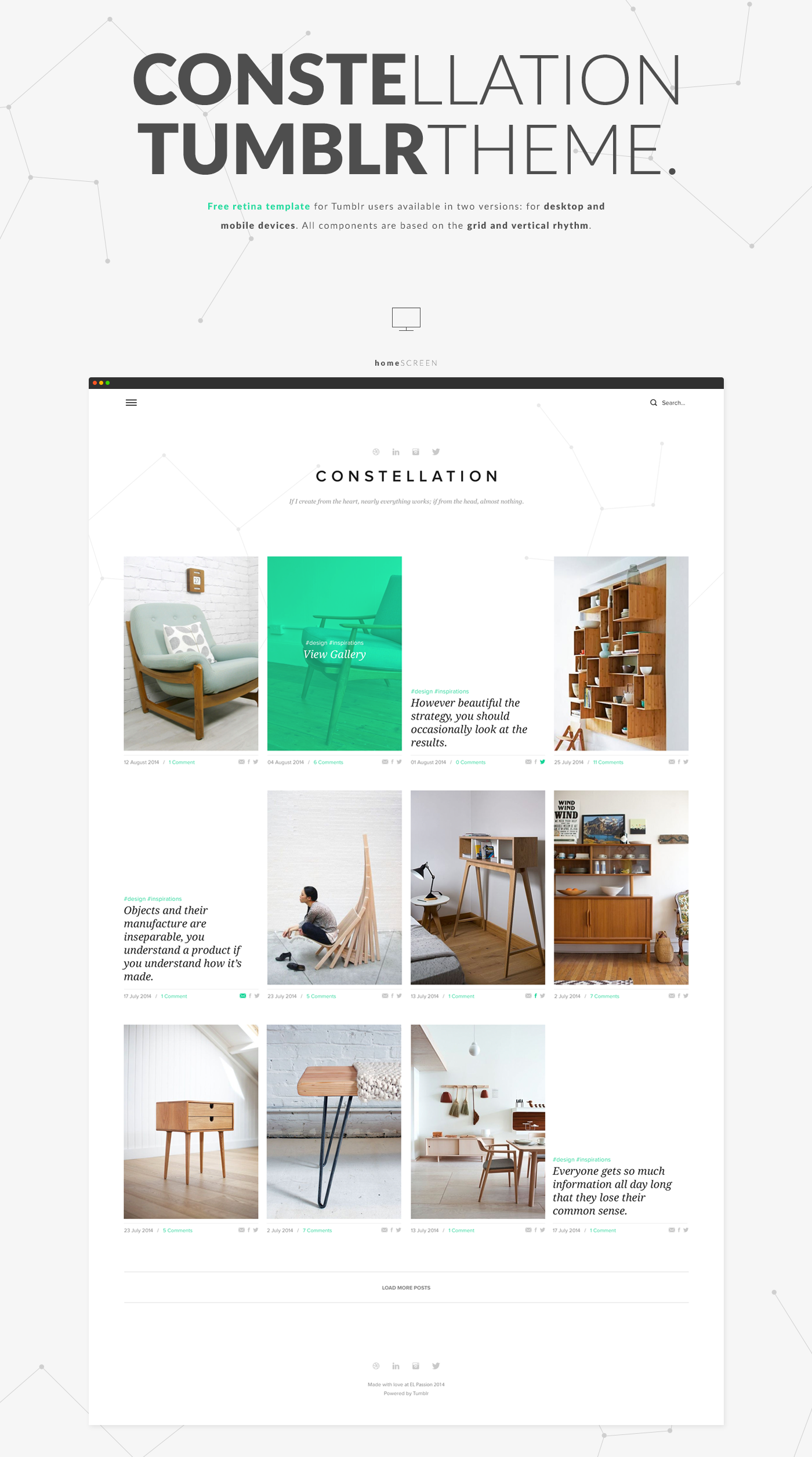 Constellation - Tumblr Free PSD Template on Behance