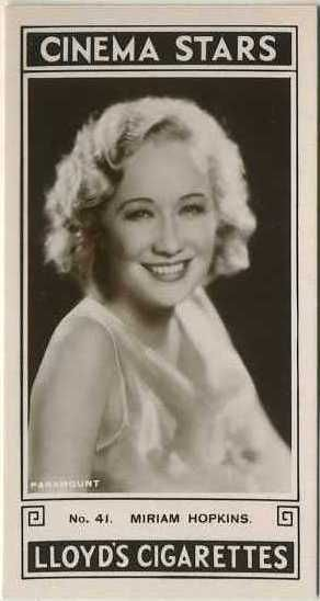 Miriam Hopkins Actor   1935 Lloyd Cinema Stars 2nd Series of 27 Tobacco Cards