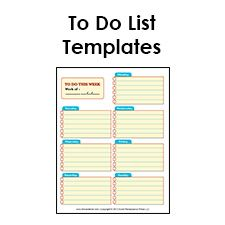 To Do List  Miscellaneous    Schedule Templates