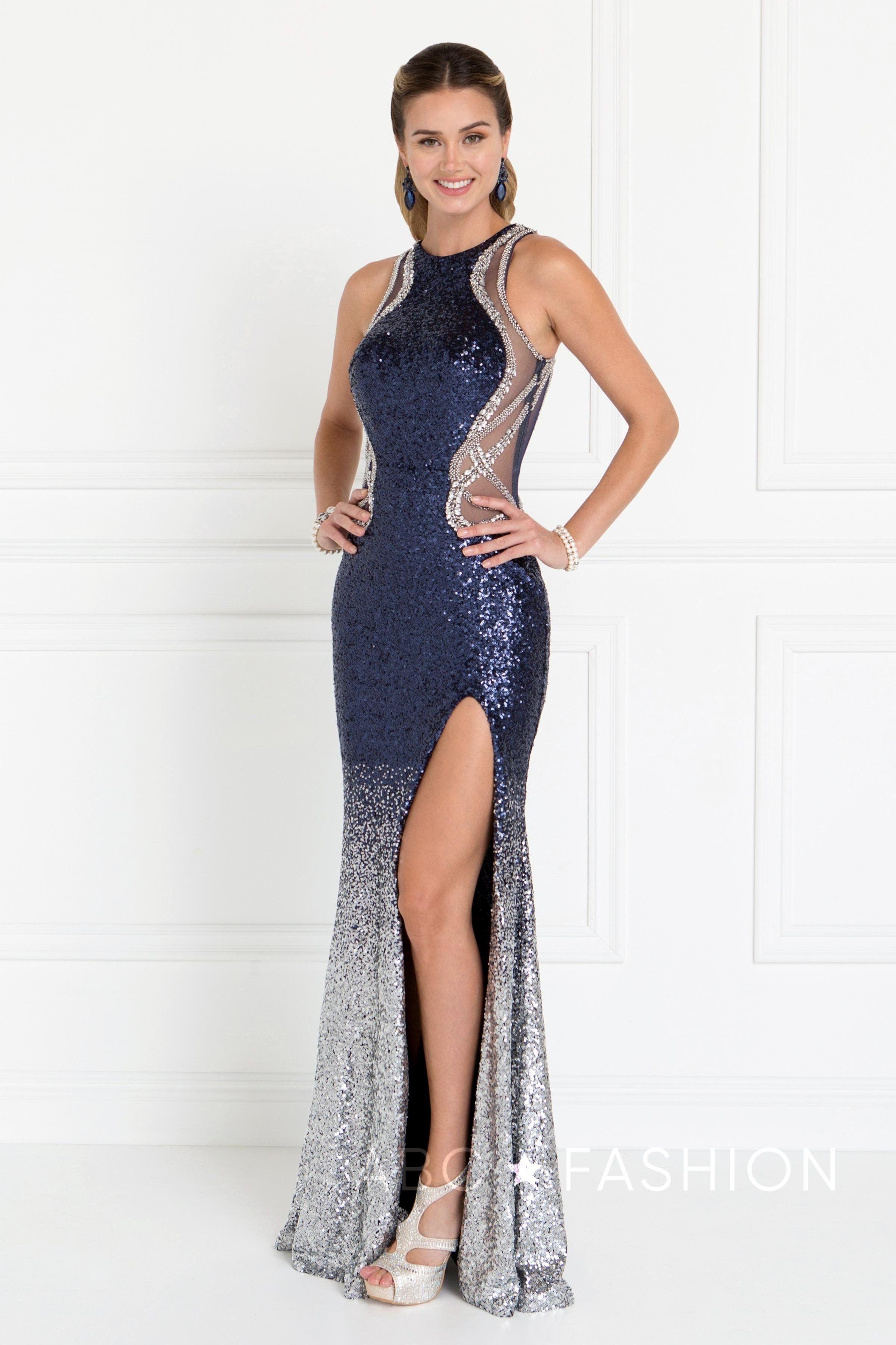 6abc7034 Navy Blue Long Sequin Dress by Elizabeth K GL1573 | Wedding ...