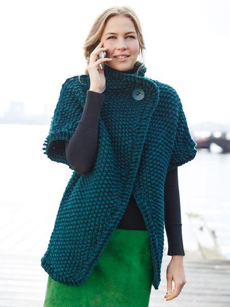 Grüne Damenweste im Perlmuster | Stricken | Knit vest ...