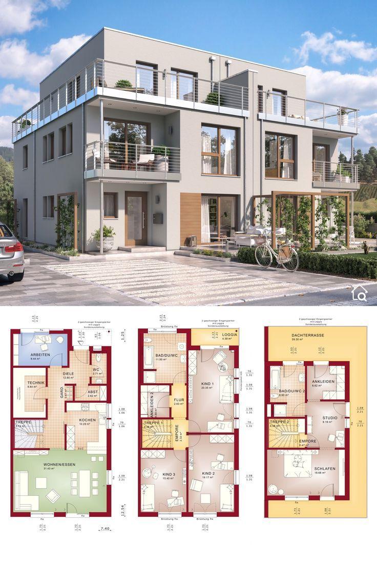 Doppelhaushälfte Grundriss modern mit Flachdach