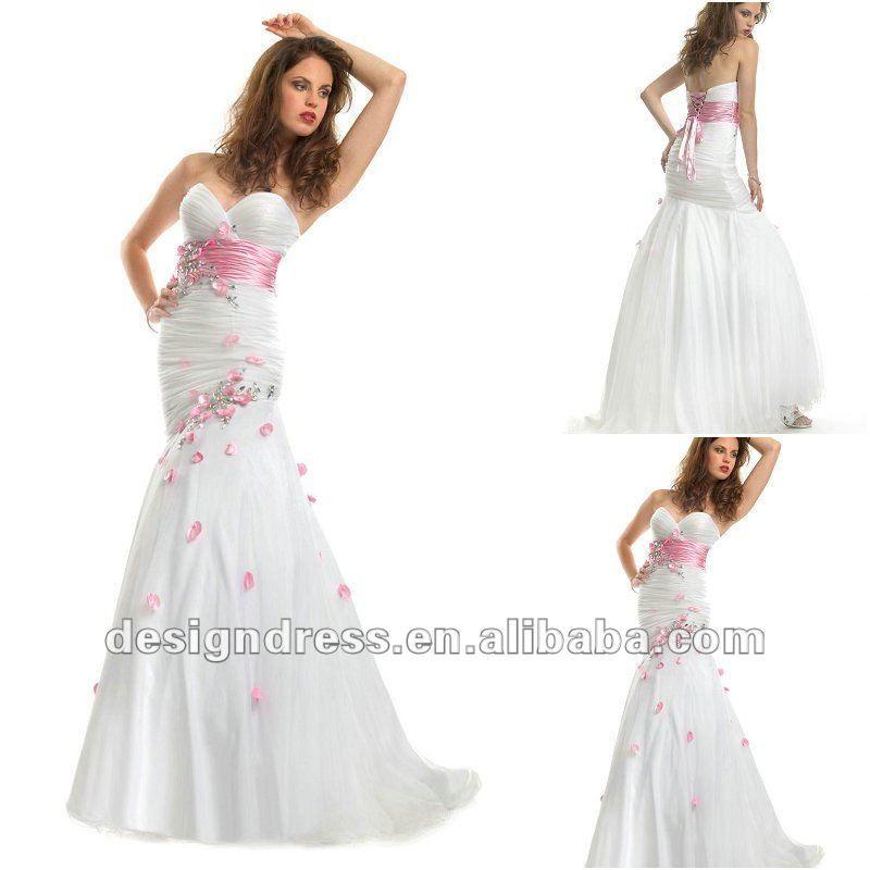nueva moda elegante 2012 novia blanco de color rosa con cuentas en ...