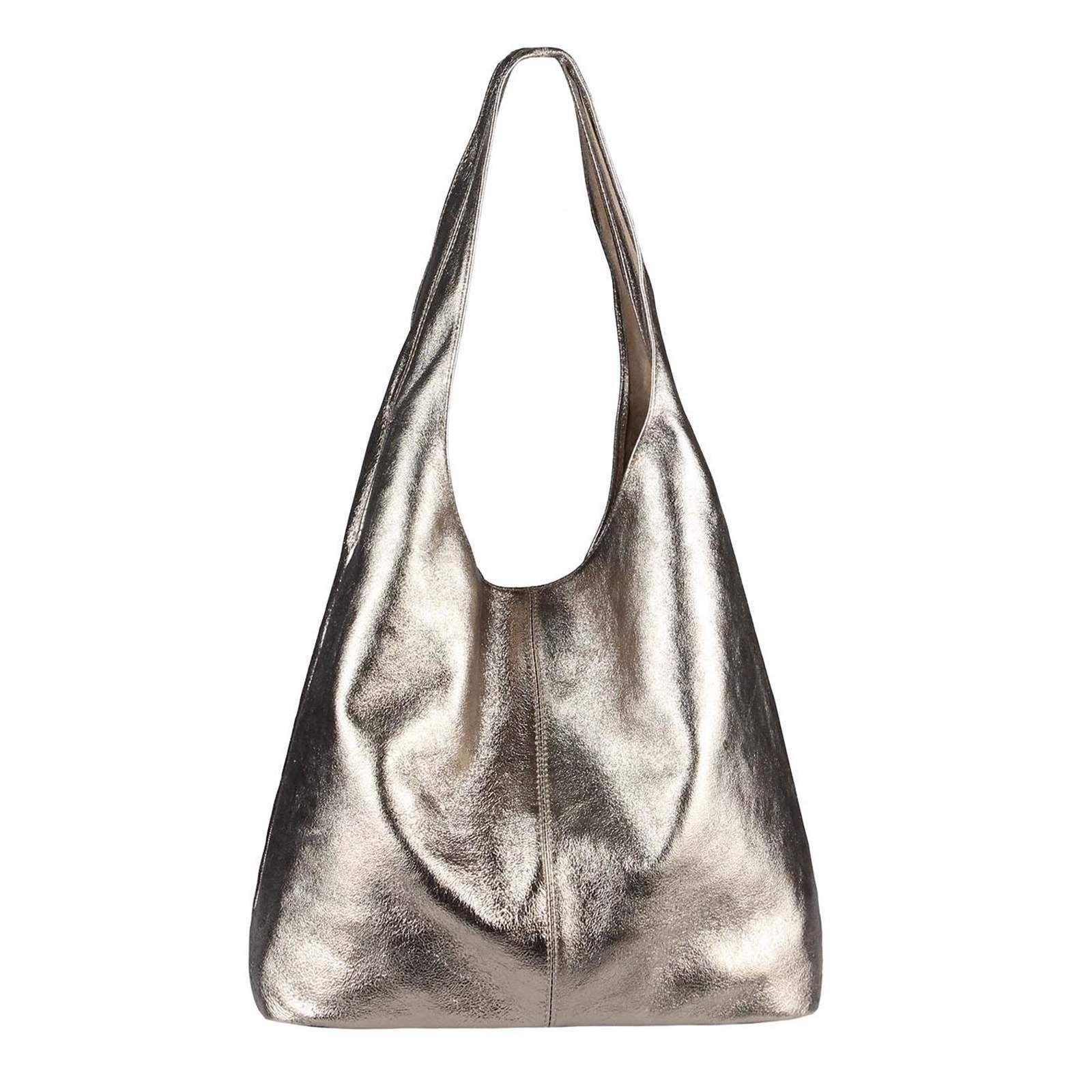 ITALY DAMEN LEDER HANDTASCHE METALLIC Shopper Schultertasche Hobo-Bag vera pelle