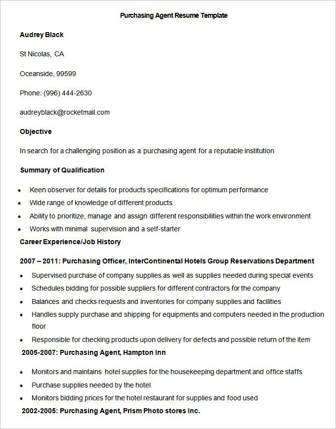Purchasing Agent Job Description Purchasing Agent Job Description