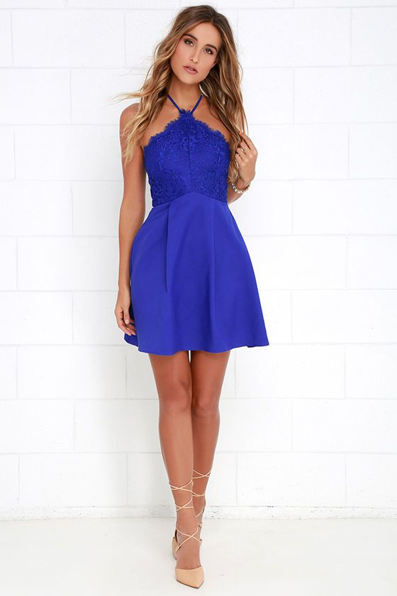 Royal Blue Lace Skater Dress
